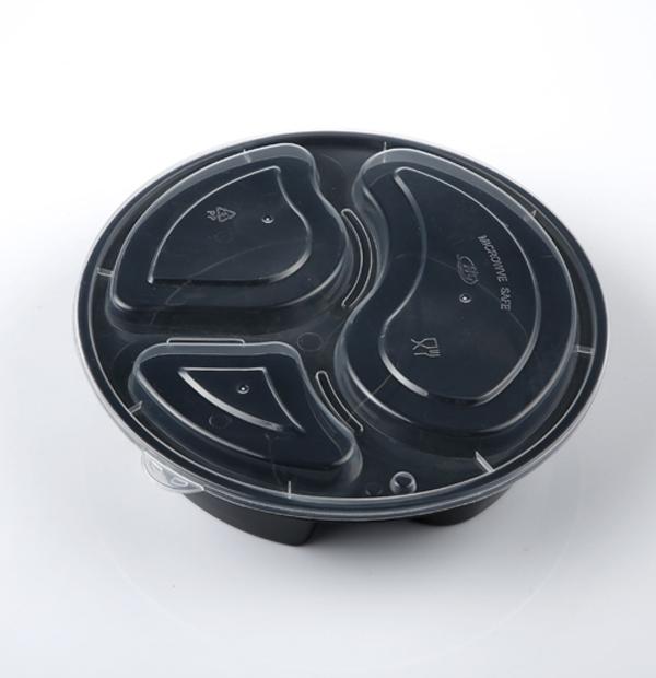 838三格圆形餐盒1X150套(黑色)