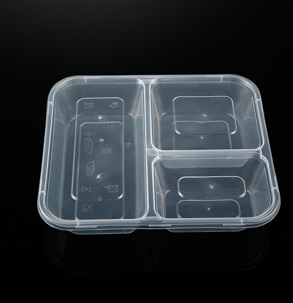 三格餐盒1X100套(透明)