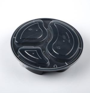 838三格圆形餐盒(黑色)1X150套