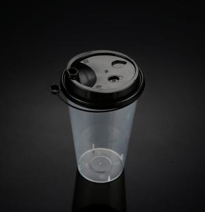 9050奶茶杯(黑色连体盖)